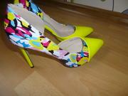 туфли  желтые Лодочки,  открытые дамские туфли без ремешка и застежки
